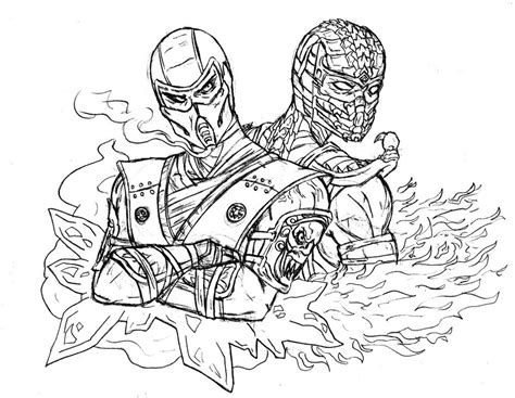 mortal kombat coloring pages bestofcoloring com