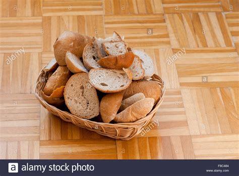 bread basket stale food pile in wooden basket on
