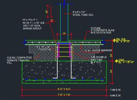 Duplex Plans With Garage by Pedestal With Column Footing Typical Cad Files Dwg Files Plans And Details
