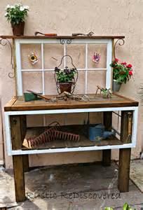 potting bench rustic rediscovered vintage garden potting bench