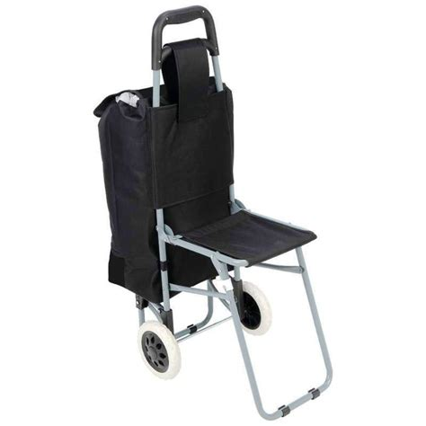 shopping cart with seat black trolley travel shopping bag grocery rolling wheel
