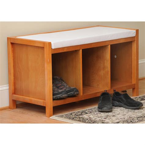 open storage bench lion sports bay shore collection open storage entryway bench with cushion 212130