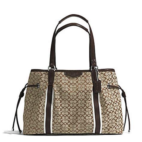 Coach Drawstring Signature Mahogany coach f26130 signature stripe 6cm drawstring carryall silver khaki mahogany coach handbags