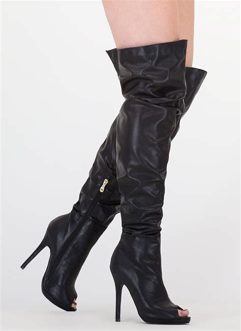 faux leather thigh high boots slouch on faux leather thigh high boots black white