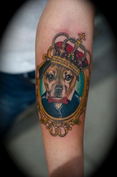 dog portrait victorian frame crown by ryan el dugi lewis
