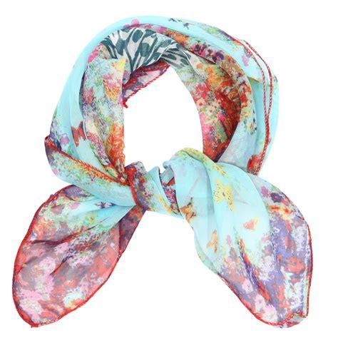 fashion soft silk chiffon scarf small square flower