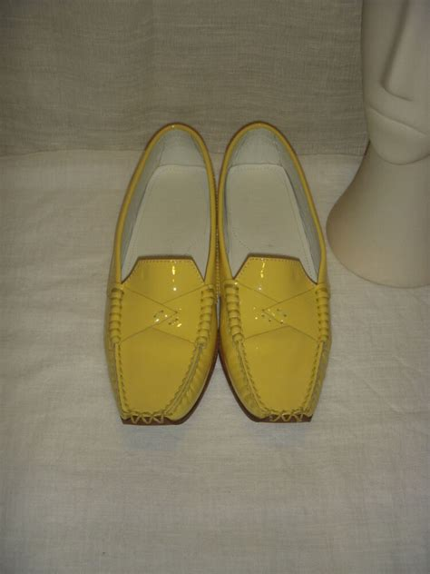 tods yellow leather loafers moccasin shoes women size  ebay
