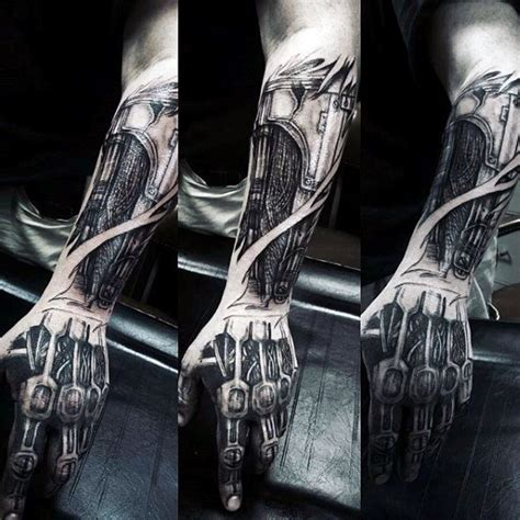 cyborg arm tattoo 60 terminator designs for manly mechanical