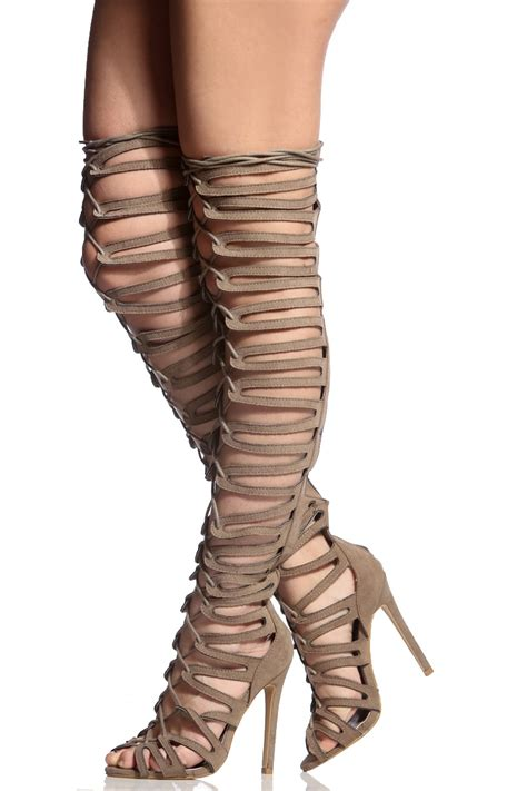 thigh high high heels taupe faux suede cut out lace up thigh high heels