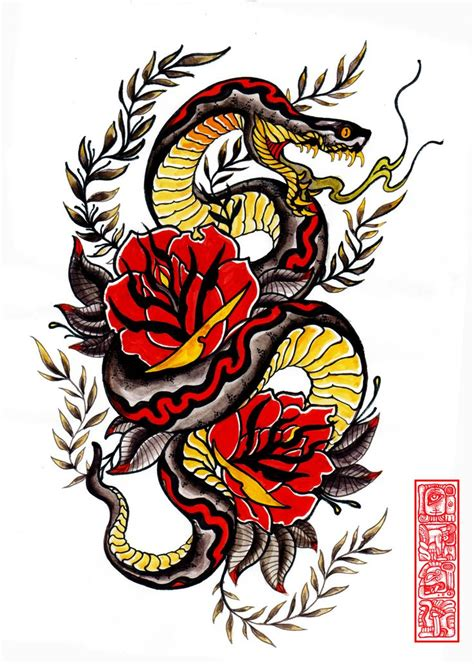 snake and rose tattoo designs 64 best images about cobras serentes on pen