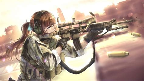 wallpaper anime girl  gun