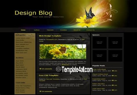 css templates for blogger dark design blog css website template download