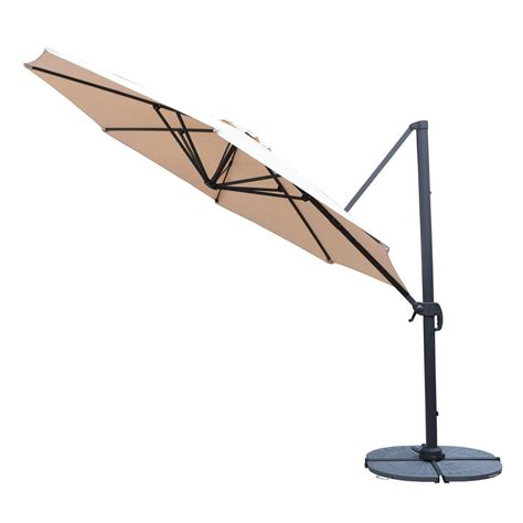 Cantilever Patio Umbrella 11 Ft Cantilever Patio Umbrella In Beige With Crank And 4 Cast Poly Base Hd4115bg 4226gy