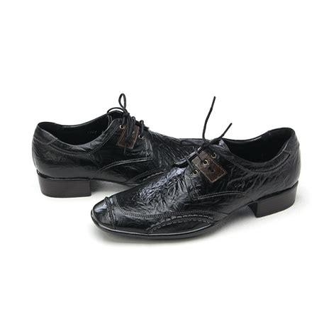 mens unique wrinkles black cow leather shoes