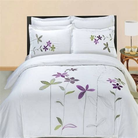 hotel style comforter sets 5pc hotel style purple white embroidered duvet cover set