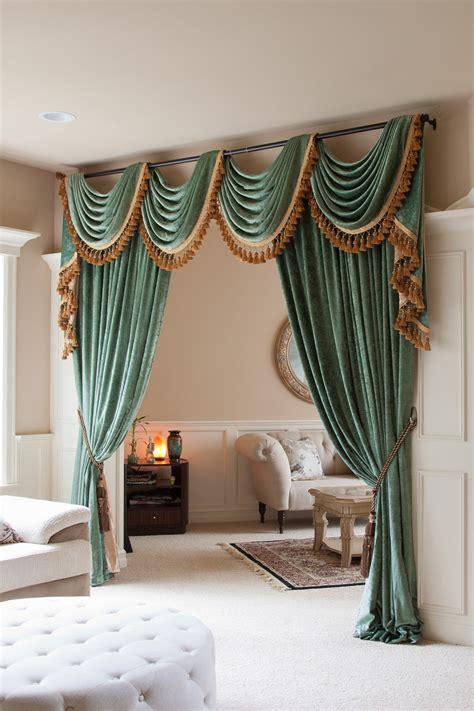 Green Chenille Swag Valance Draperies Living Room Window Valance Ideas