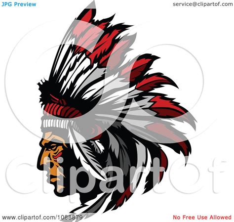 clipart native american indian chief and feather headdress