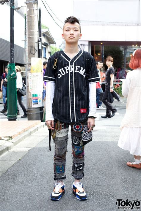 supreme fashion mohawk hair supreme baseball shirt handmade patched