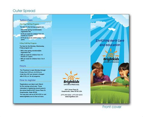 daycare brochure template daycare brochure templates free premium