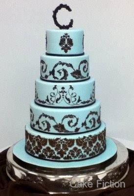 cake fiction blue  chocolate brown damask wedding cake