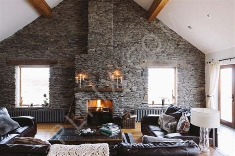 house  stone wall   living room interior
