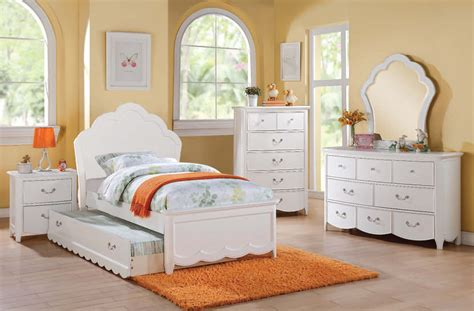 kids full bedroom set cecilie youth white wood 4pc kids bedroom set w full bed