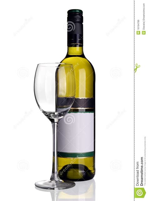 Cylinder Wine Glass Bottle Of White Wine With Wine Glass Royalty Free Stock