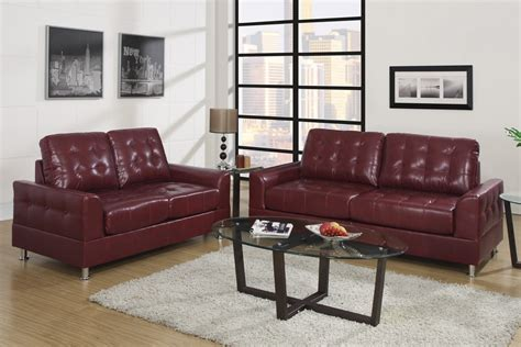 Modern Contemporary Burgundy Bonded Leather Sofa And