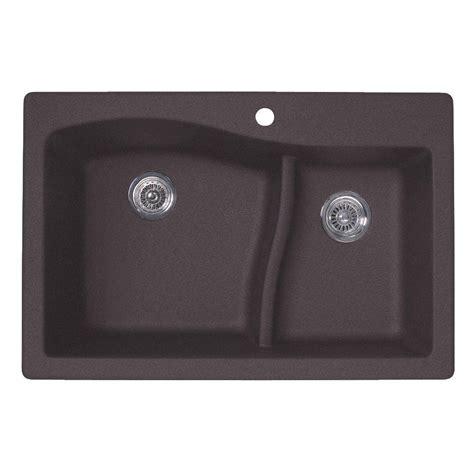 40 Kitchen Sink Swan Drop In Undermount Granite 33 In 1 60 40 Bowl Kitchen Sink In Nero Qz03322ls