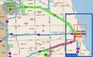 chicago map with airports chicago o hare airport to and from chicago downtown