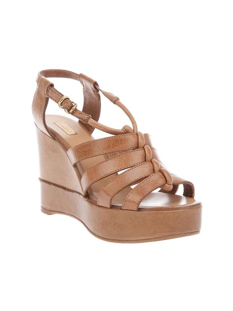 strappy wedge sandals chlo 233 strappy wedge sandal in brown lyst