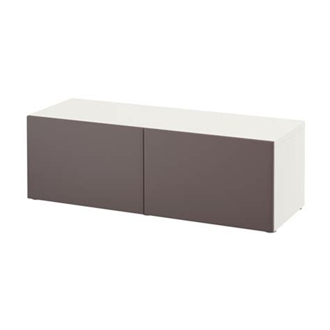 besta products best 197 shelf unit with doors white valviken dark brown