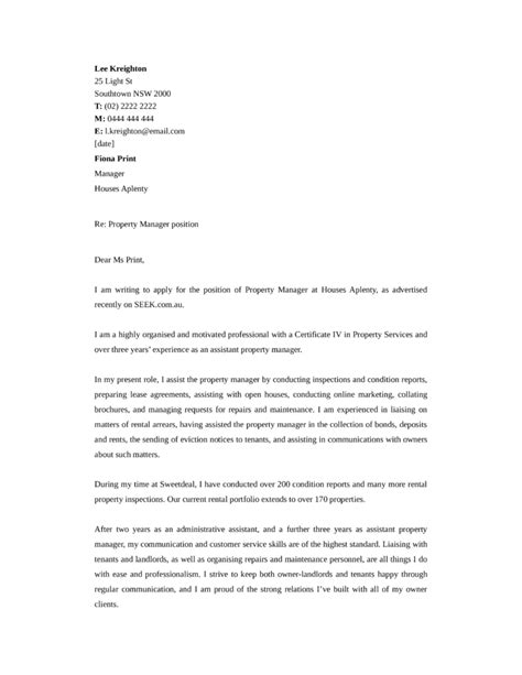 cover letter for property manager position basic property manager cover letter sles and templates