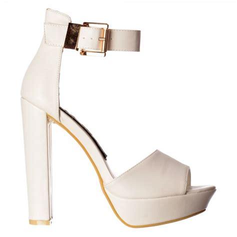 white ankle high heels shoekandi platform peep toe block high heels ankle