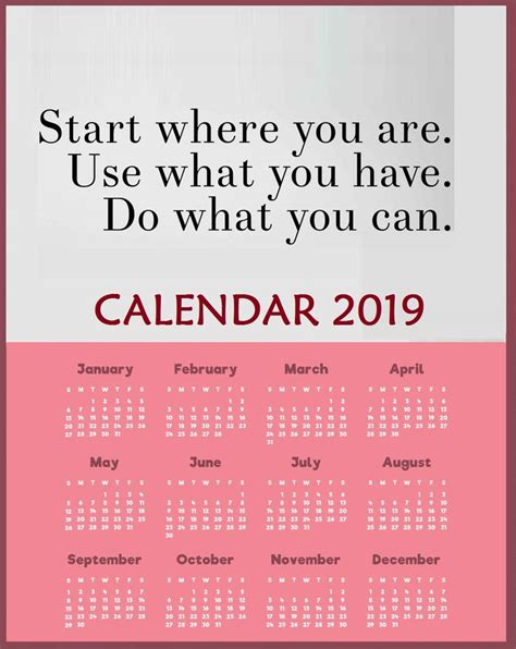 yearly  motivational quotes calendar template