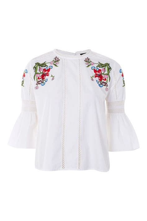 Embroidery White Tops embroidered poplin top topshop