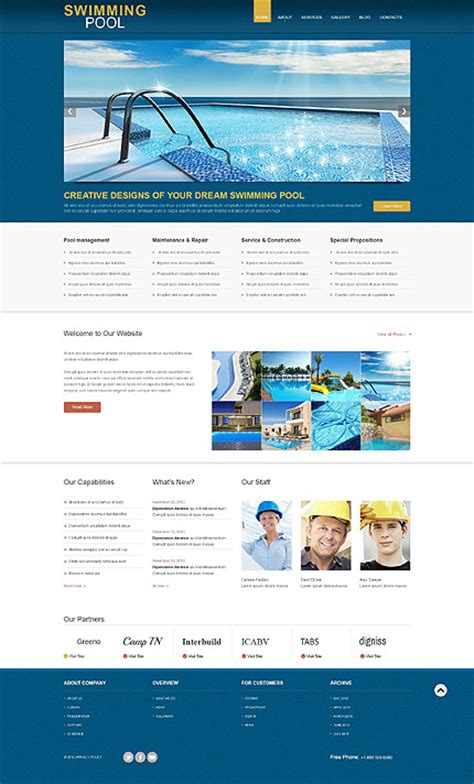 Swimming Pool Wordpress Theme Swimming Pool Website Templates Free