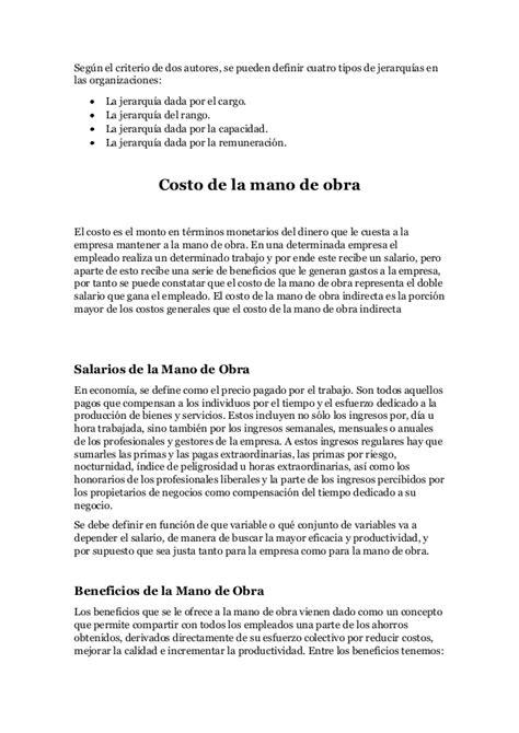 monografia de costos monografia de costos mano de obra