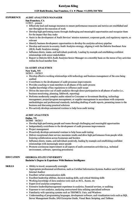 it auditor resume sles tableau 28 images senior