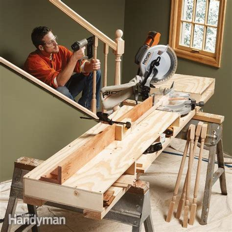 build miter saw bench how to build a miter saw table the family handyman