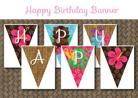 free printable luau birthday banner hawaiian luau theme printable birthday party banner digital