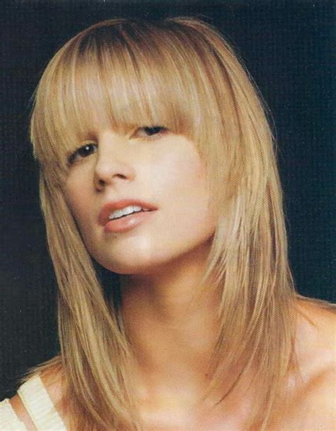 medium layered face framing haircuts beautiful layered hairstyle with bangs rioval