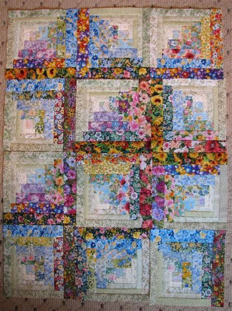patchwork cabin log cabin quilts quilts great to do with floral scraps