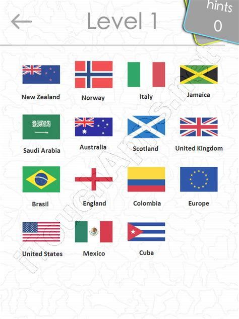 world flags quiz answers