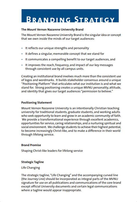 strategy document template 9 brand strategy templates free word pdf documents