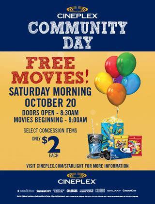 cineplex free movie day cineplex canada community day october 20th free movies