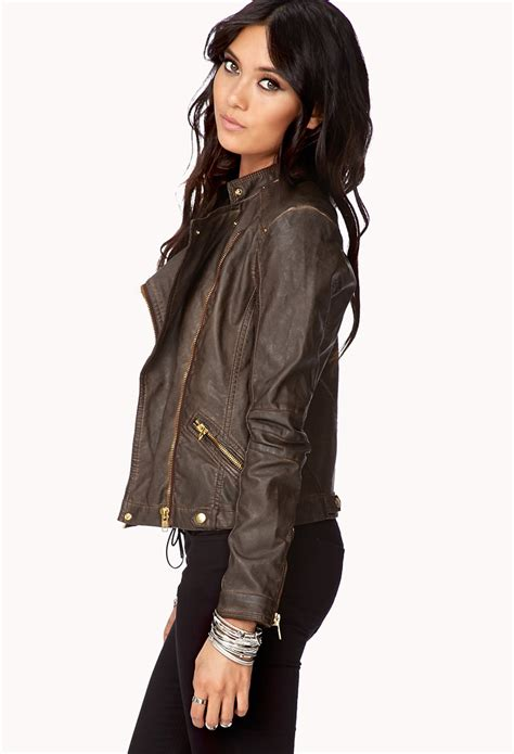 brown leather moto lyst forever 21 contemporary off duty faux leather moto