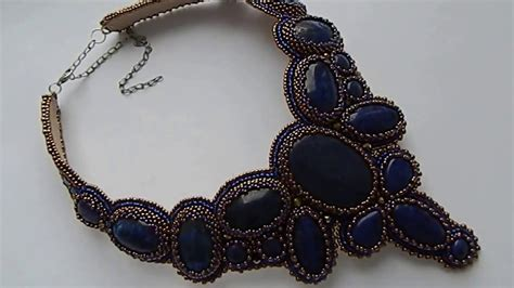 Necklace Kalung Choker Embroidered Embroidery embroidery necklace with seed and lapis lazuli