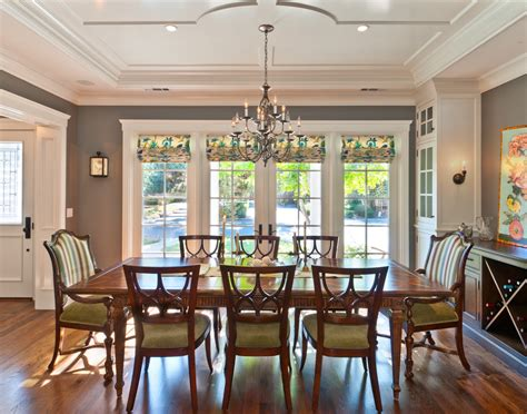 Dining Room Window Door Shades Dining Room Traditional With Accent Ceiling Chandelier Crown
