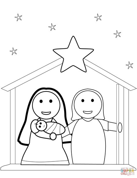 printable nativity scene to color christmas nativity scene coloring page free printable